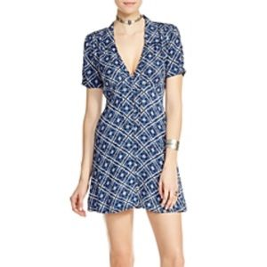 Free People Melody Easy Printed Dress Blue Mini 0